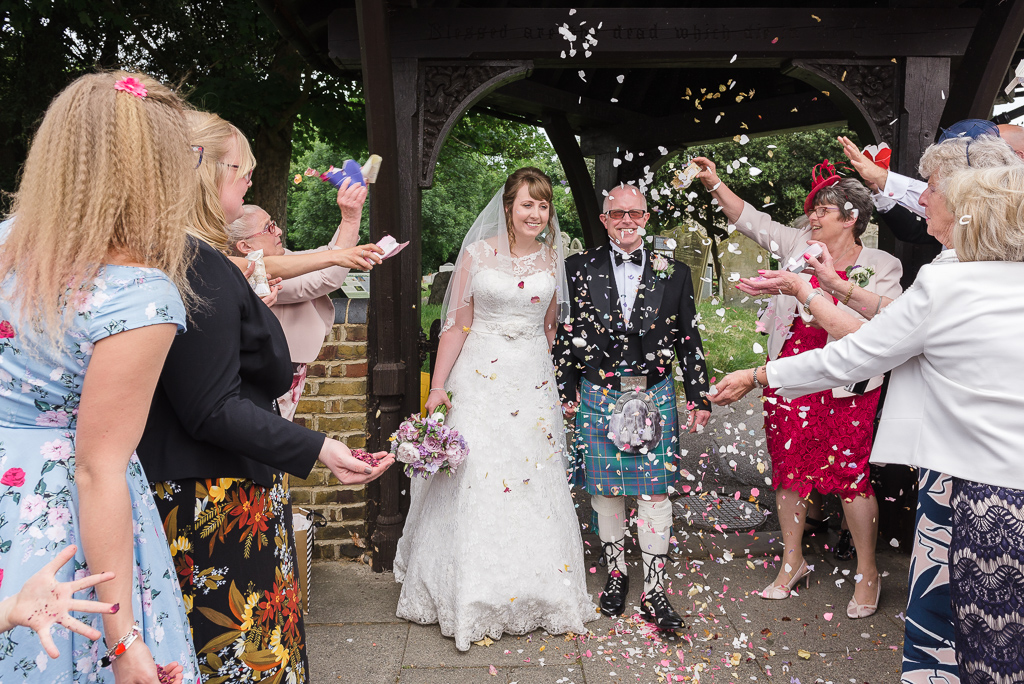 Confetti throwing at the St Paulinus wedding | Oakhouse Photography