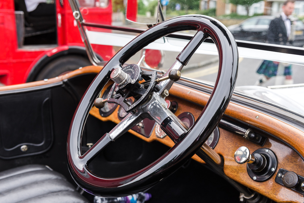 Steering wheel and interior detail shot of Rolls Royce Silver Ghost Soft Top wedding car | Oakhouse Photography