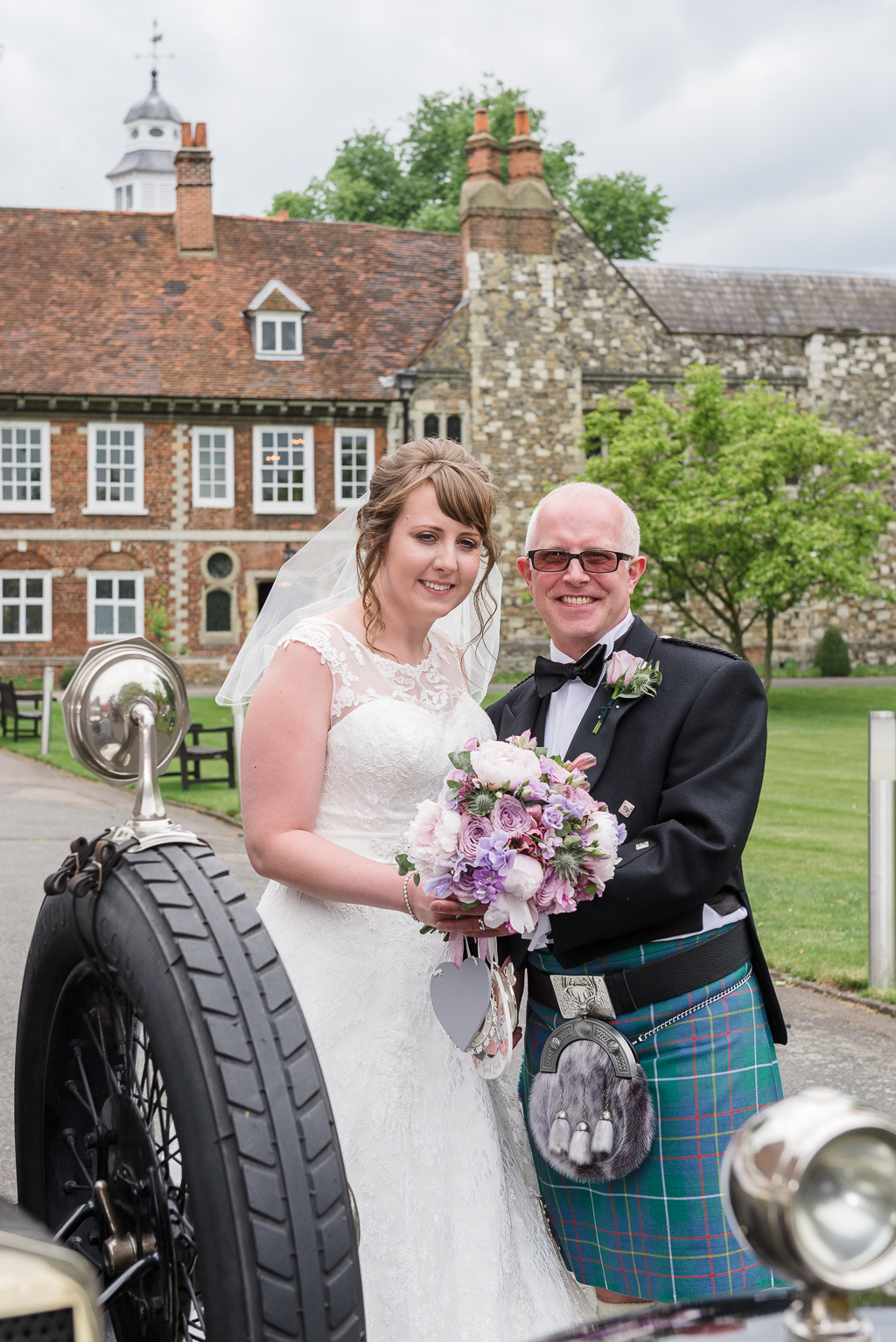 Bride and groom outside Hall Place Bexley | Oakhouse Photography