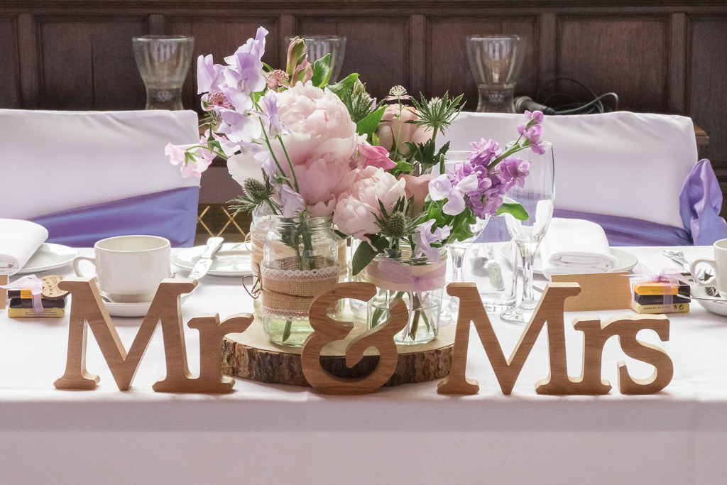 Top table wedding detail shot for Bexley wedding reception | Oakhouse Photography