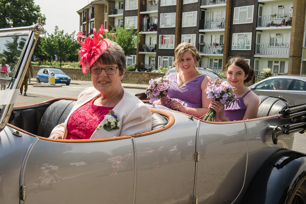 Mother of the bride and bridesmaids arrival at St Paulinus Church Crayford | Oakhouse Photography