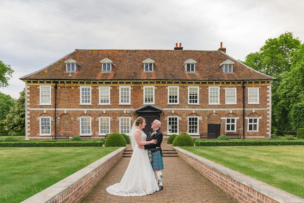 Bride and groom portrait in front of Hall Place Bexley Kent | Oakhouse Photography