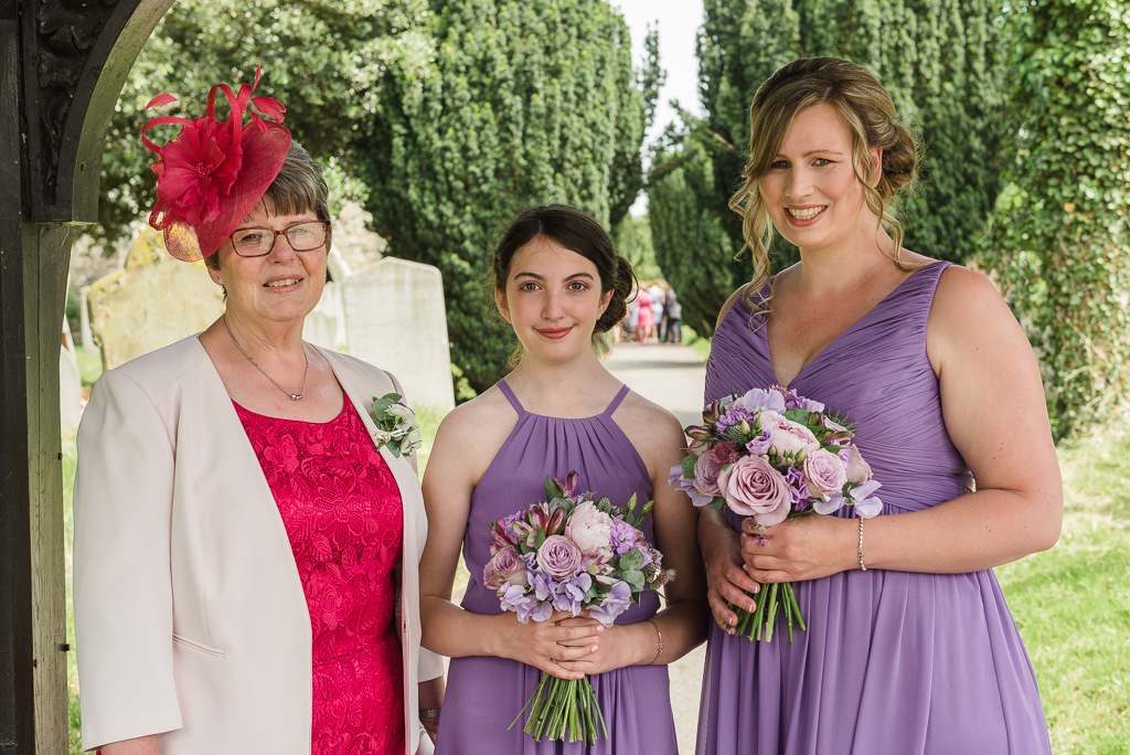 Mother of the bride and bridesmaids at St Paulinus Church Crayford Kent | Oakhouse Photography