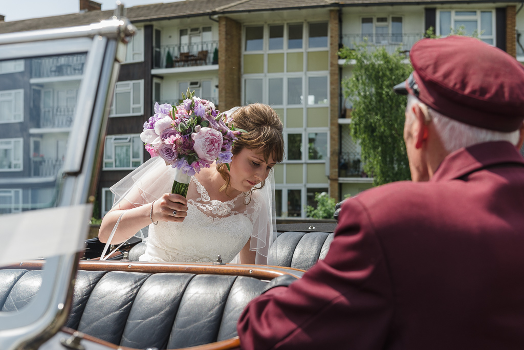 Bride's arrival at St Paulinus Church Crayford for a Spring wedding | Oakhouse Photography