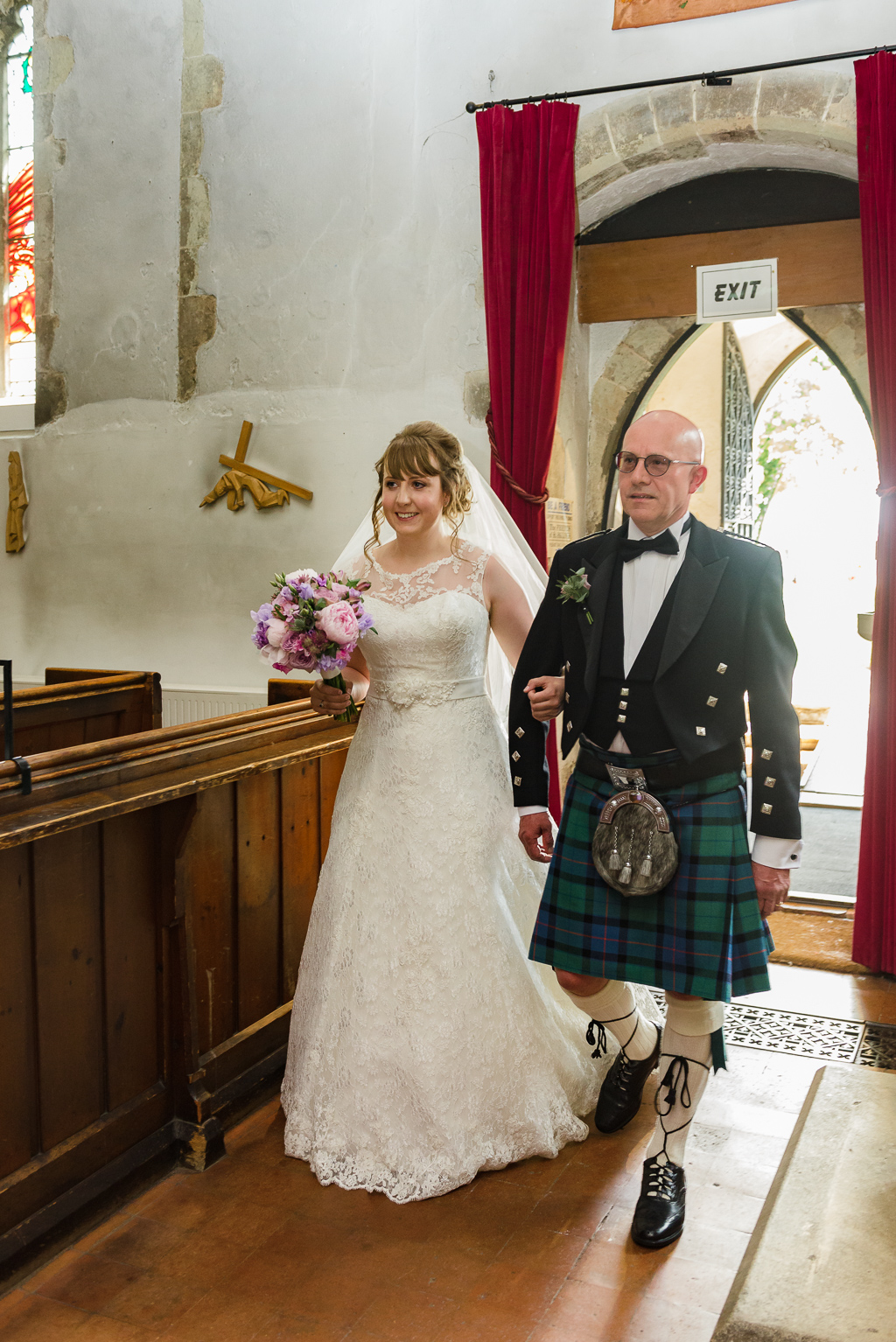 Bride and her father's entrance into St Paulinus Church for the wedding ceremony