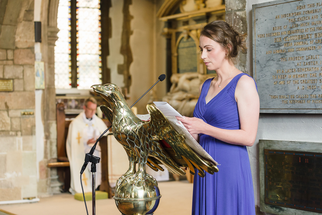 Reading during the wedding ceremony at St Paulinus Church Crayford Kent | Oakhouse Photography
