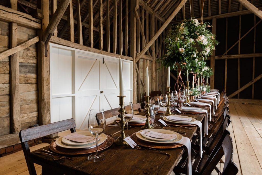 barn wedding table