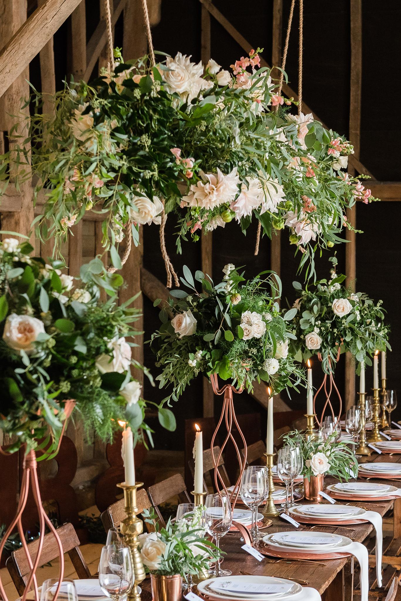 floral arrangement barn wedding kent