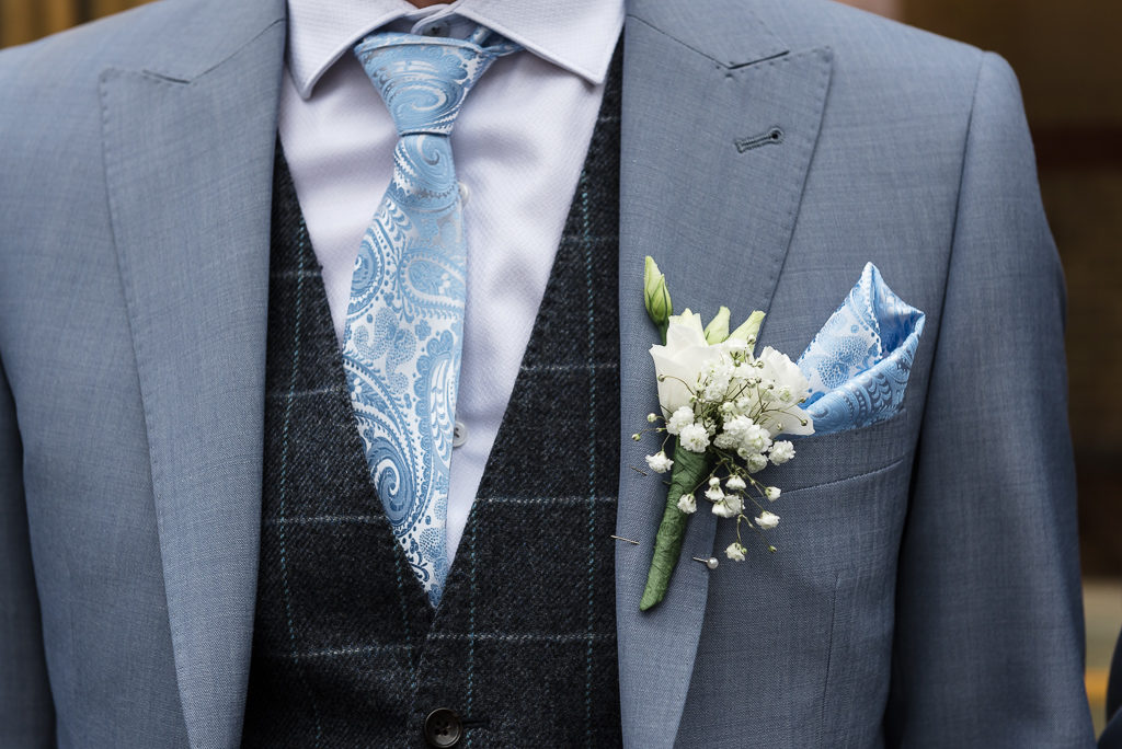 Groom's buttonhole | Sidcup Wedding of Becky & Hugo | Oakhouse Photography