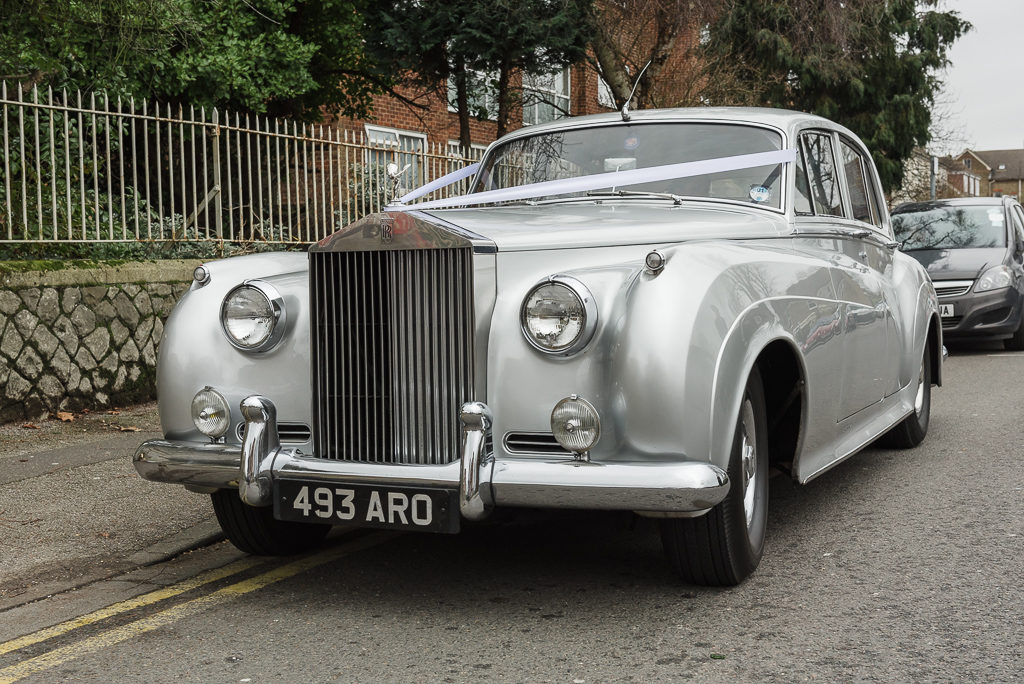 Bride's arrival in vintage Rolls Royce car | Sidcup Wedding of Becky & Hugo | Oakhouse Photography