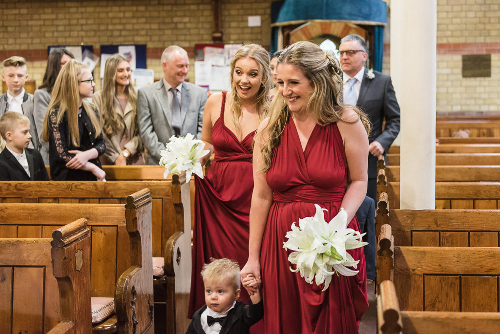 Bridesmaids coming down the aisle | Sidcup Wedding of Becky & Hugo | Oakhouse Photography
