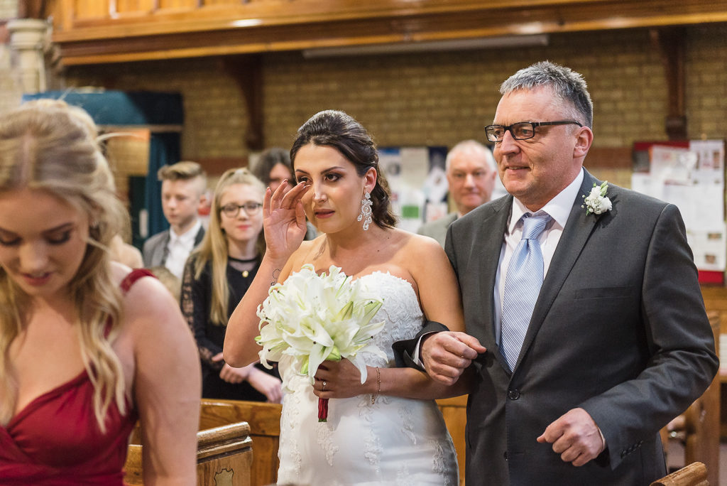 Bride and her father walking down the aisle | Sidcup Wedding of Becky & Hugo | Oakhouse Photography