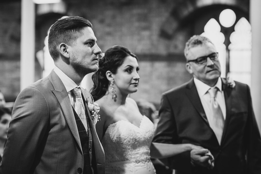 Bride, groom and bride's father at the start of the wedding ceremony at Emmanuel Church, Sidcup | Sidcup Wedding of Becky & Hugo | Oakhouse Photography