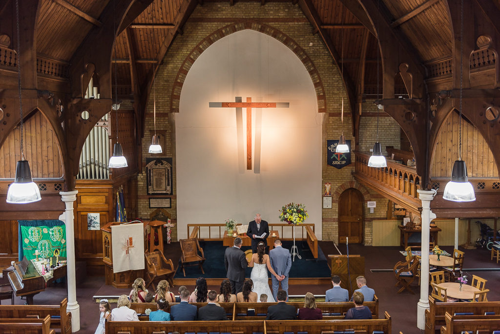 View from gallery of wedding ceremony at Emmanuel Church, Sidcup | Sidcup Wedding of Becky & Hugo | Oakhouse Photography