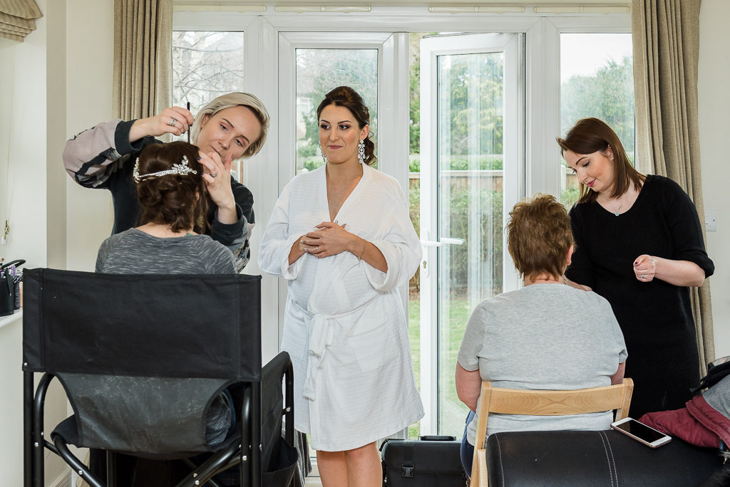 Bride and bridesmaids during bridal prep | Sidcup Wedding of Becky & Hugo | Oakhouse Photography