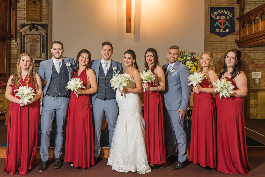 Bride, groom, bridesmaids and ushers | Sidcup Wedding of Becky & Hugo | Oakhouse Photography