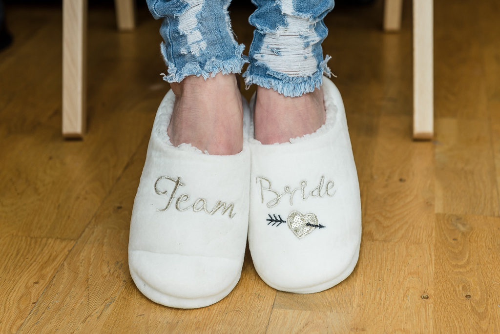 Bridal slippers - capturing wedding details | Sidcup Wedding of Becky & Hugo | Oakhouse Photography