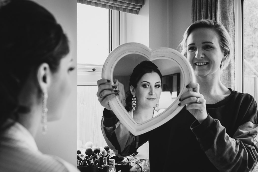 Reflection photograph during bridal prep | Sidcup Wedding of Becky & Hugo | Oakhouse Photography