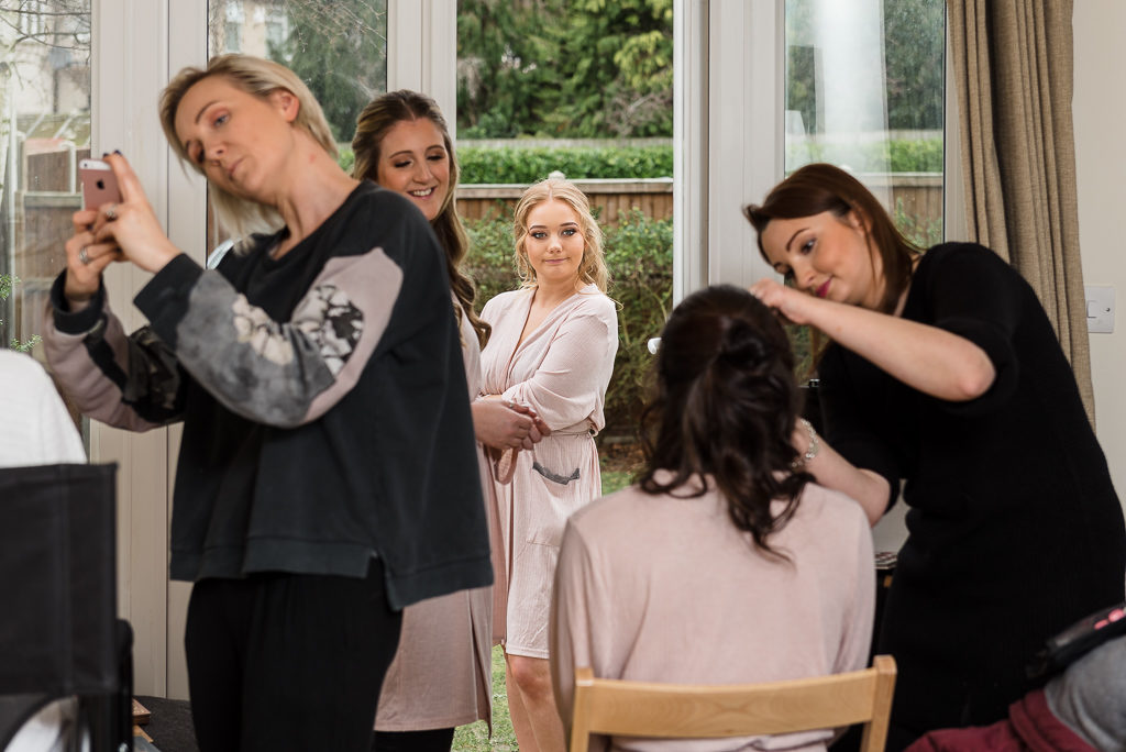 Bridesmaids getting ready with MUAs | Sidcup Wedding of Becky & Hugo | Oakhouse Photography