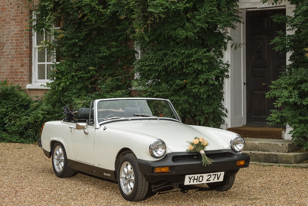 Millie the MG Sports Car supplied by Danewest Automotive of Kemsing, Sevenoaks, Kent photographed at Sprivers Mansion Elopement Photo Shoot | Kent Wedding Photographer | Oakhouse Photography