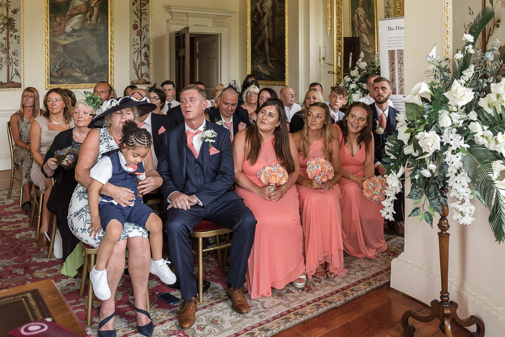 Wedding party and guests at Danson House Bexley wedding | Oakhouse Photography