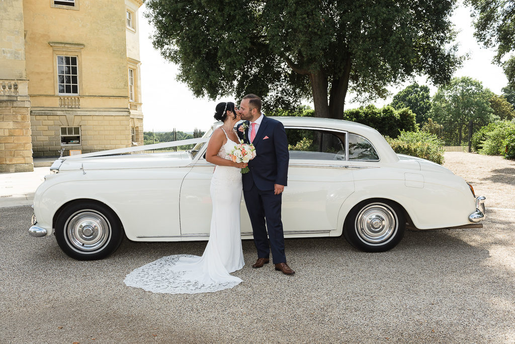 Bride and groom portraits with the wedding car at Danson House Bexley | Oakhouse Photography