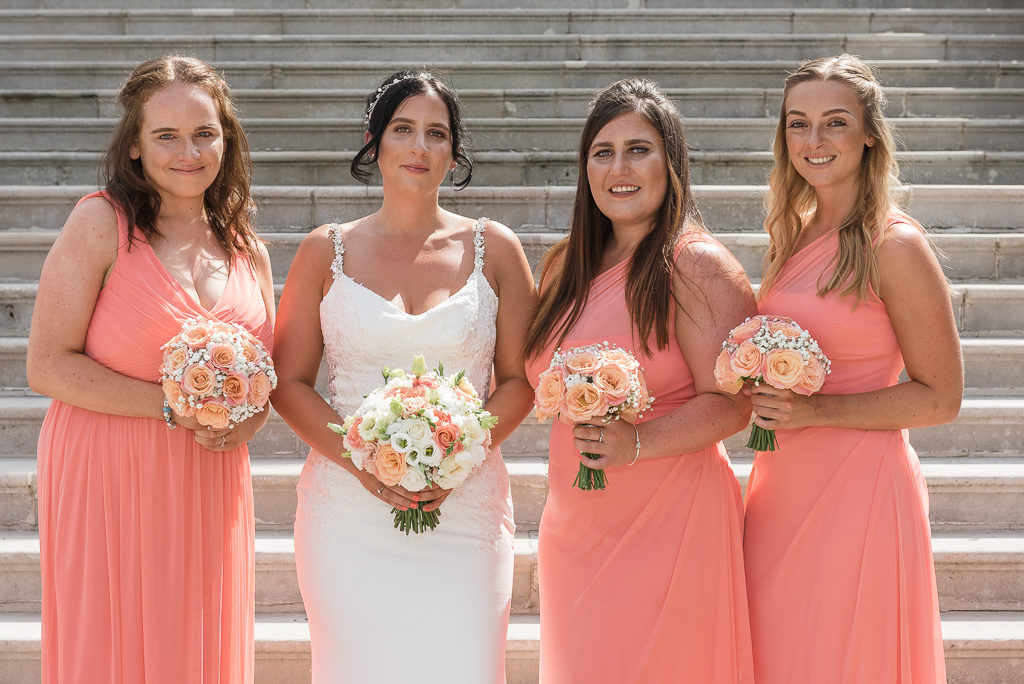 Bride and bridesmaids at Danson House Bexley wedding | Oakhouse Photography
