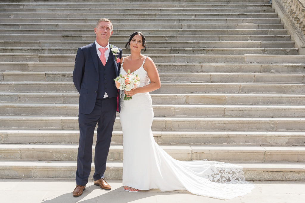 Bride and her father at Danson House Bexley wedding | Oakhouse Photography