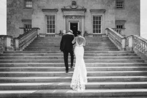 Bride and her father ascending the steps to Danson House | Oakhouse Photography