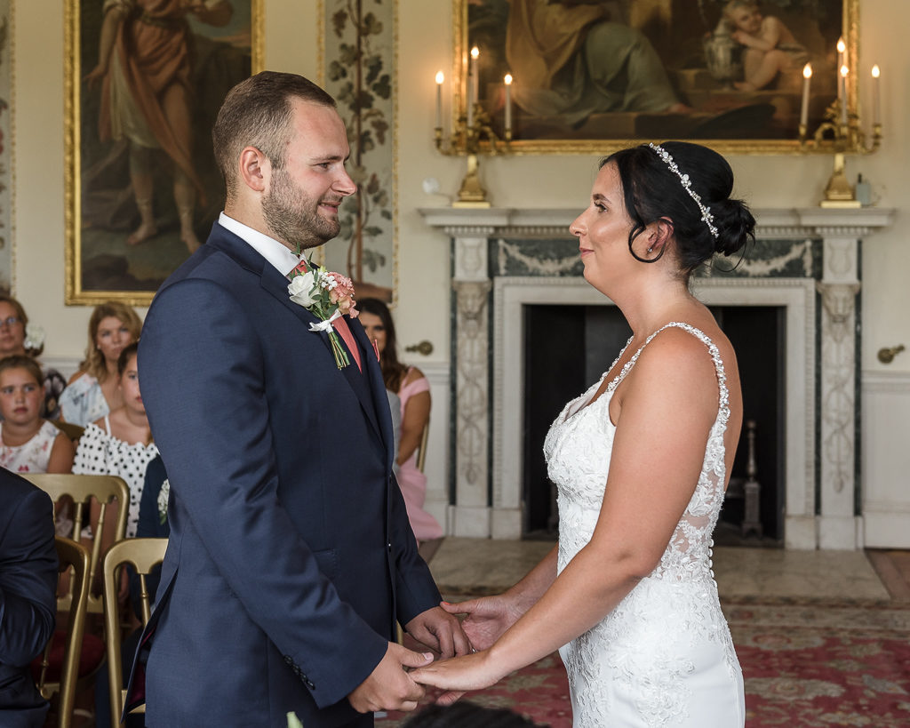 Bride and groom during the wedding ceremony at Danson House Bexley wedding | Oakhouse Photography
